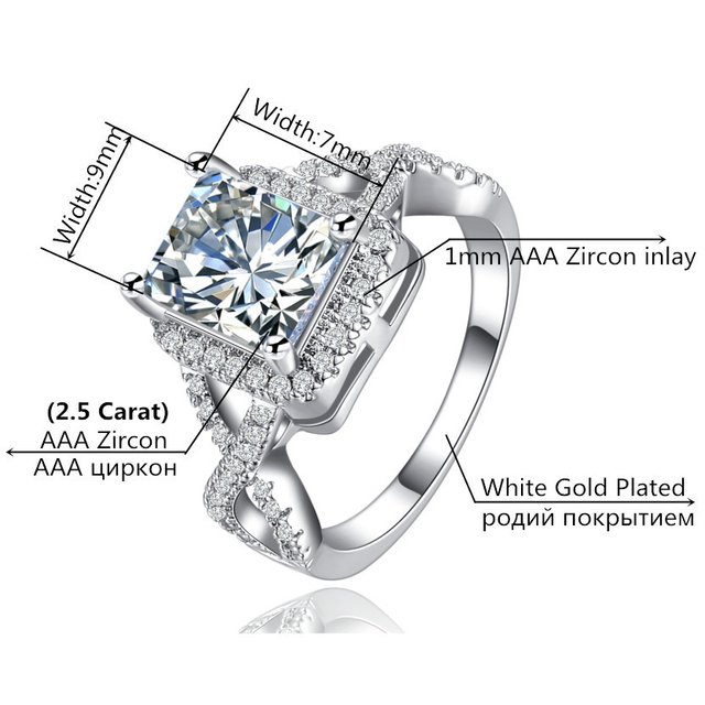 MDEAN White Gold Color Rings for Women Wedding Ring Women Rings Clear AAA Zircon Jewelry Fashion Ring Size 5-12 MSR136 1