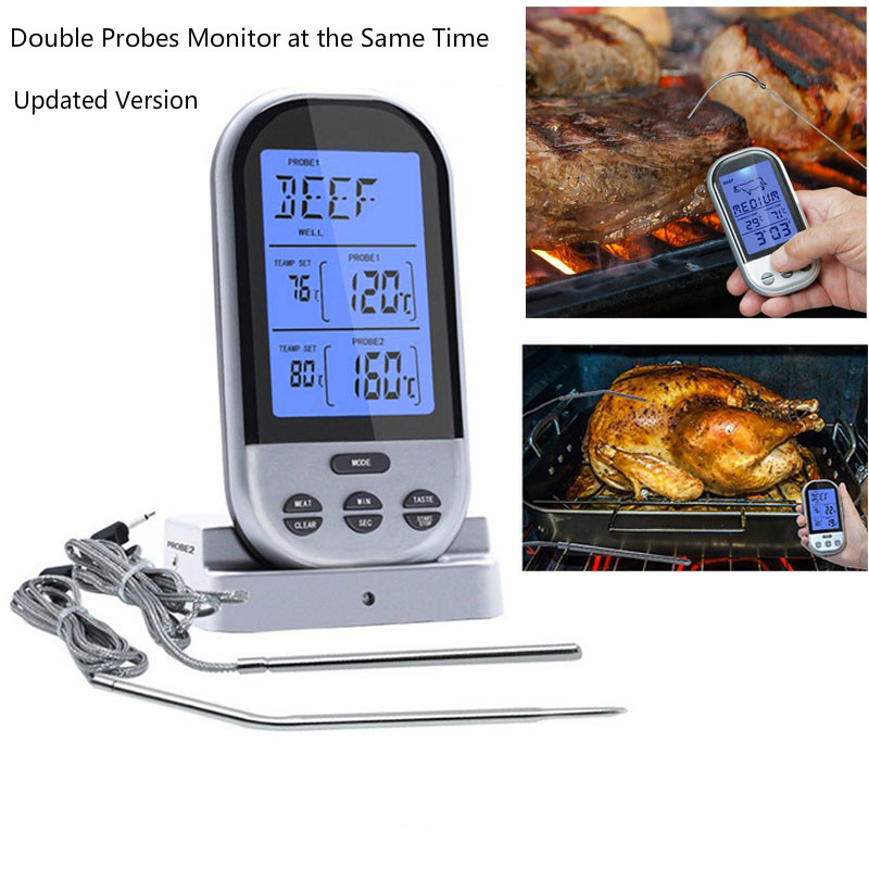 RF Wireless Food Thermometer Upgrade Double Probes Digital Temperature Timer Alarm Oven BBQ Grill Meat kitchen thermometer