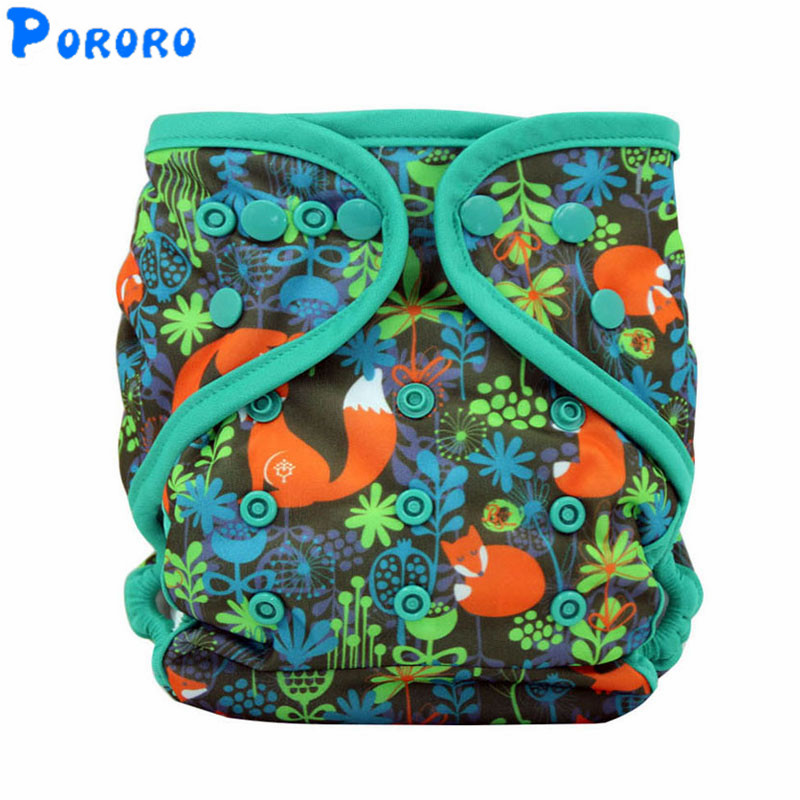 Baby Washable Cloth Diaper  Digital Printed AIO PUL Diapers Waterproof Nappy Changing Reusable Cloth Diapers For 3-15 KG Baby