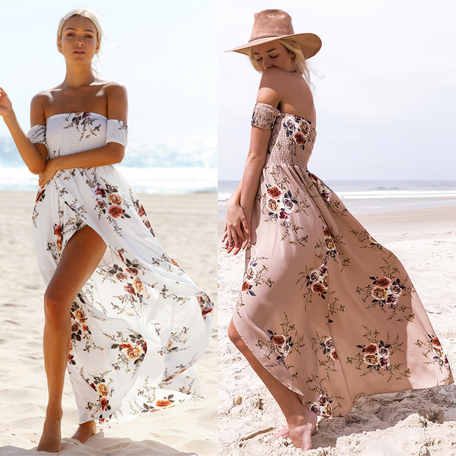 27cce42326 Hot Summer Floor Length Off Shoulder Floral Dress Causal Beach Party Sunny  Chiffan Breathable Dress With