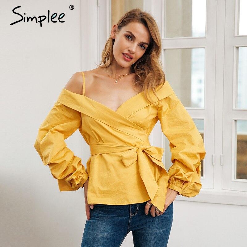 Simplee с открытыми плечами блузка рубашка Женщины рюшами фонарь рукав хлопок блузка Повседневное пояс-кушак уличная летний топ женский 2018