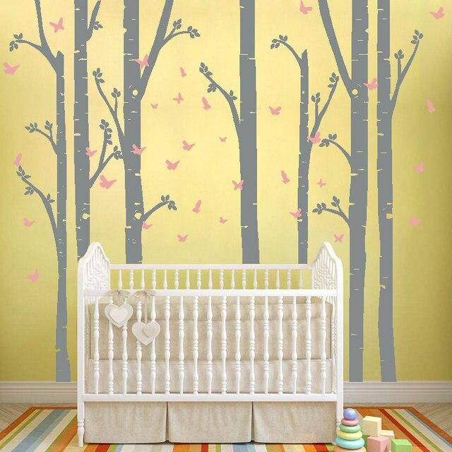 Online Shop Huge Removable Birch Tree Butterfly Vinyl Wall Art ...