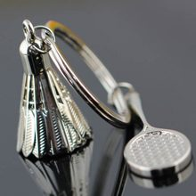 Creative Gifts Accessories Badminton And Racket Key Chain Shuttlecock & Badminton Racket Keychain Key Ring(China)