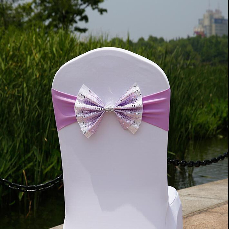 100pcs/lots Sequin Chair Bow Spandex Bow Tie Red/green/blue/purple Chaircover Sashes Wedding Chair Back Decoration Free Shipping Sashes Home Textile