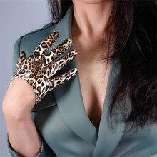 Leopard Leather Gloves 13cm Patent Ultra Short Emulation PU Bright Brown Animal Pattern Female WPU28