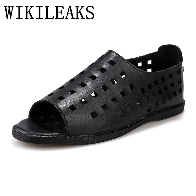 summer genuine Leather gladiator sandals for mens shoes zapatos sandalias designer luxury brand beach shoes men Hollow flats man