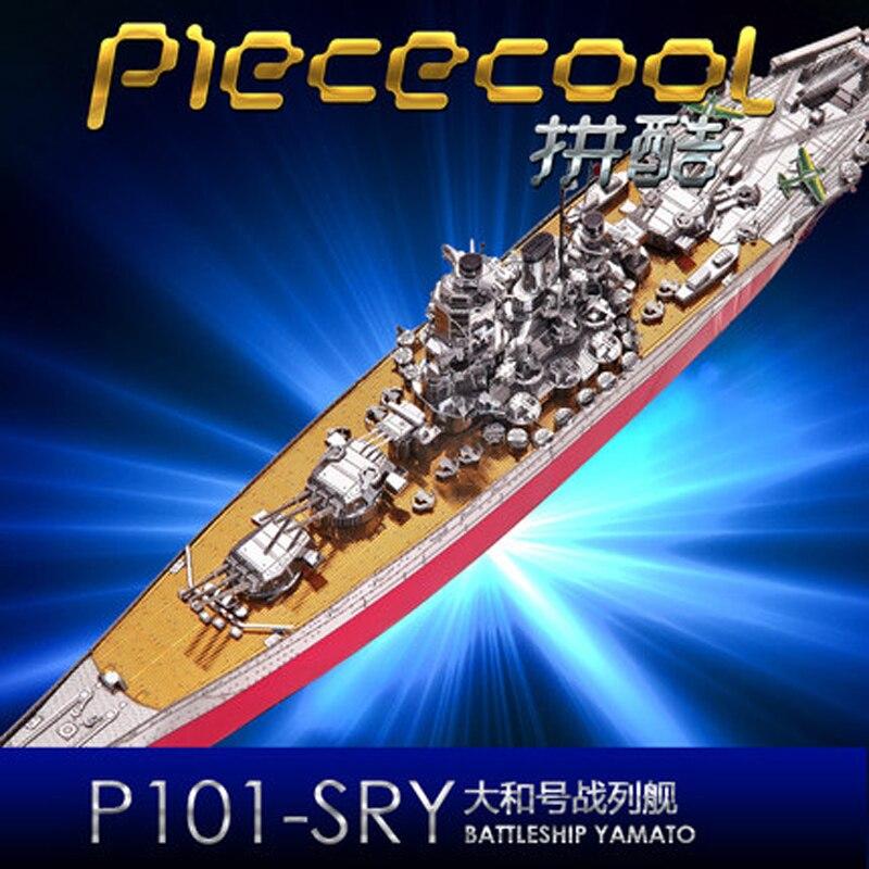 2018 Piececool 3D Métal Puzzle modèle CUIRASSÉ YAMATO bateau modèle DIY Laser De Coupe Puzzles Jigsaw Modèle Pour Adulte Enfants Jouets
