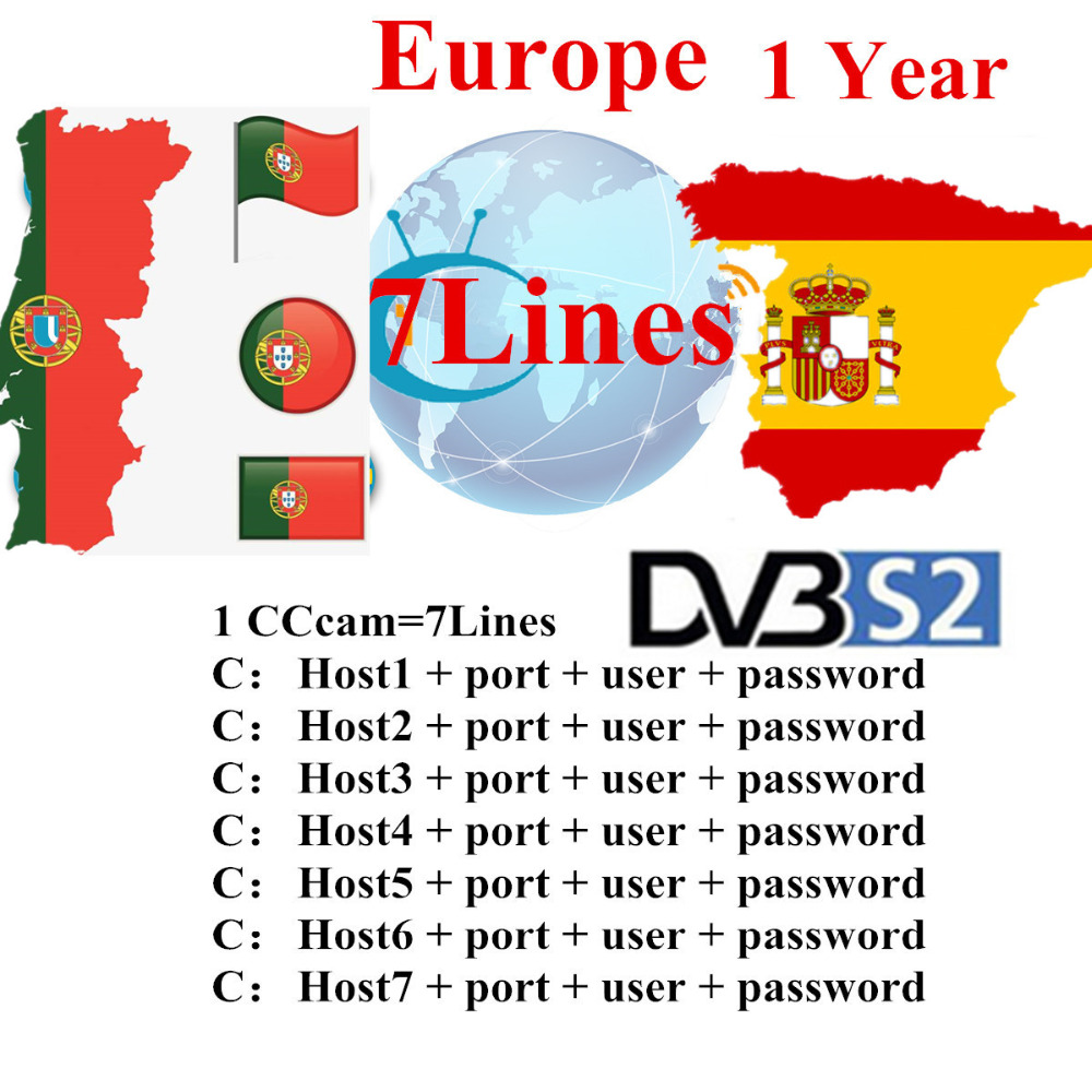 1 Year Europ CCcams for Satellite Receiver 6 Clines Europe FULL HD DVB S2 Server Support Spain Italy German Cccams CCAM 7 Lines in Satellite TV Receiver from Consumer Electronics