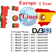 1 Year Europ CCcams for Satellite Receiver 6 Clines Europe FULL HD DVB-S2 Server Support Spain Italy German Cccams CCAM 7 Lines