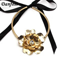 Danfosi Big Flower Collar Chokers Necklaces For Women Statement Jewelry Fashion Alloy Torques Maxi Necklaces Collier Wholesale