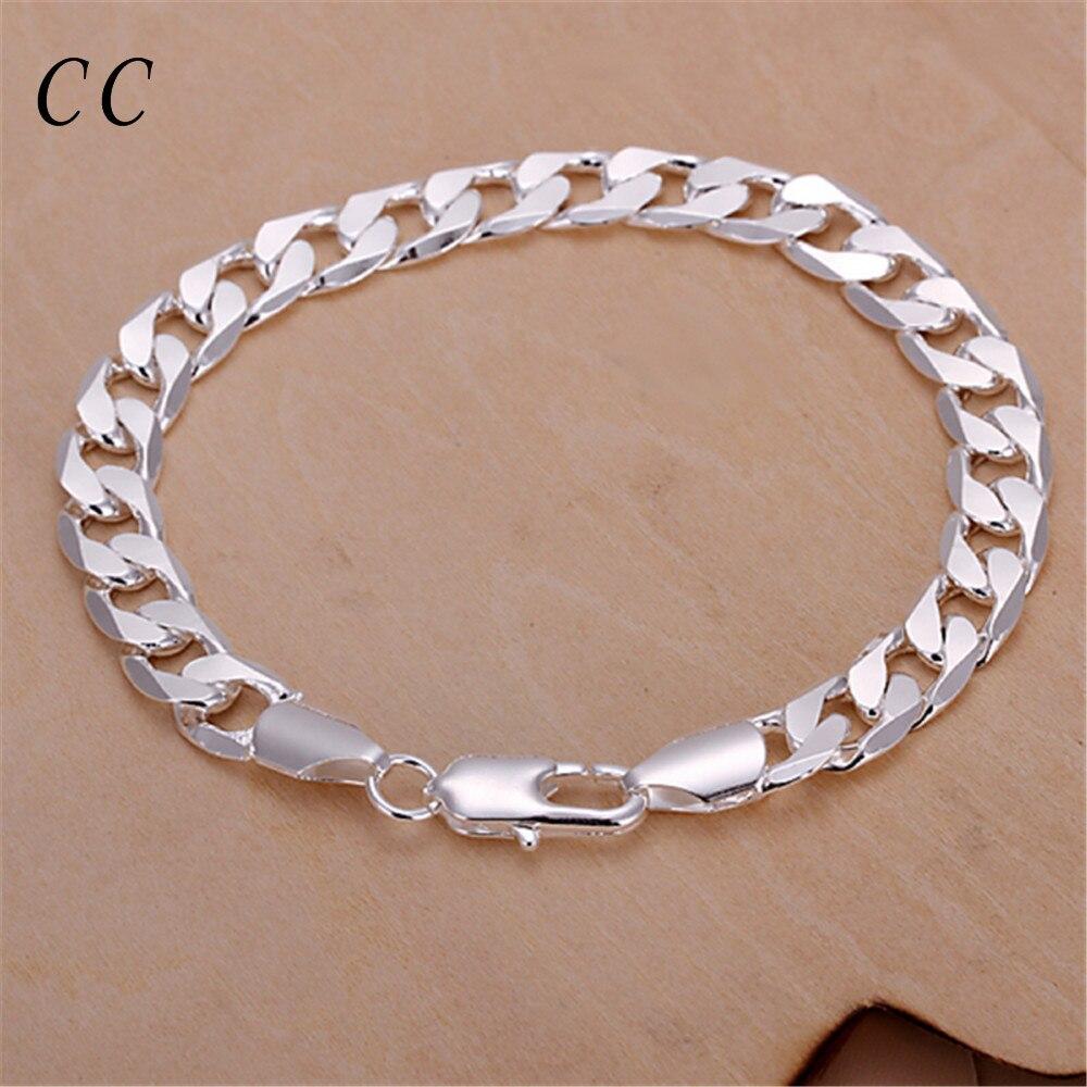 Simple silver plated bracelets for men flat sideways figaro chain ...