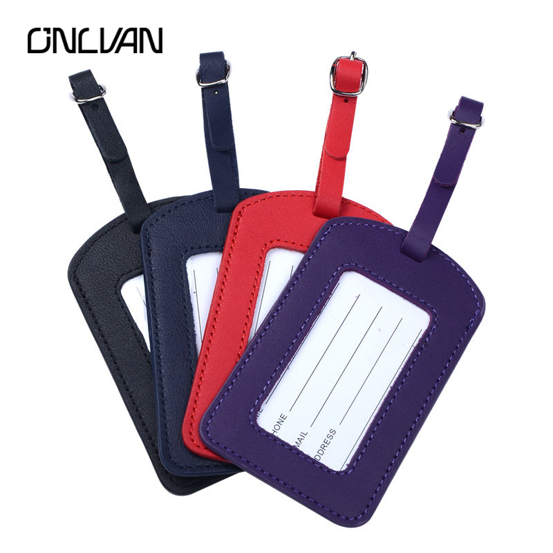 ONLVAN Genuine Leather Luggage Tags for Business Suitcase Leather Bag Tags suitcase tag with Name Card Travel Accessories