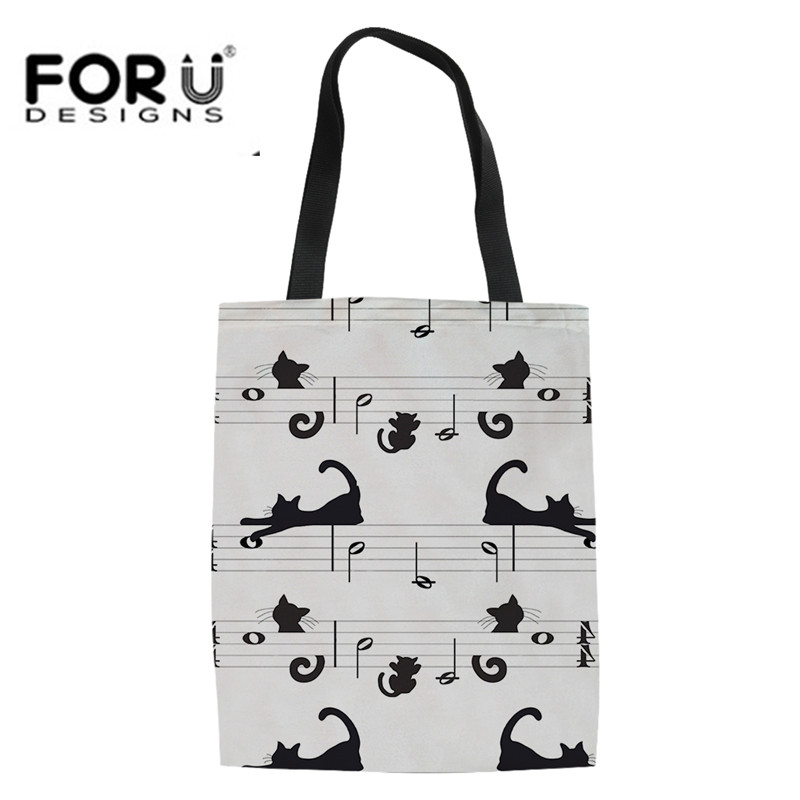 Youth Girls Linen Tote Bags Cartoon Cat Print Music Lover Summer Beach Bag Canvas Large Hangbags