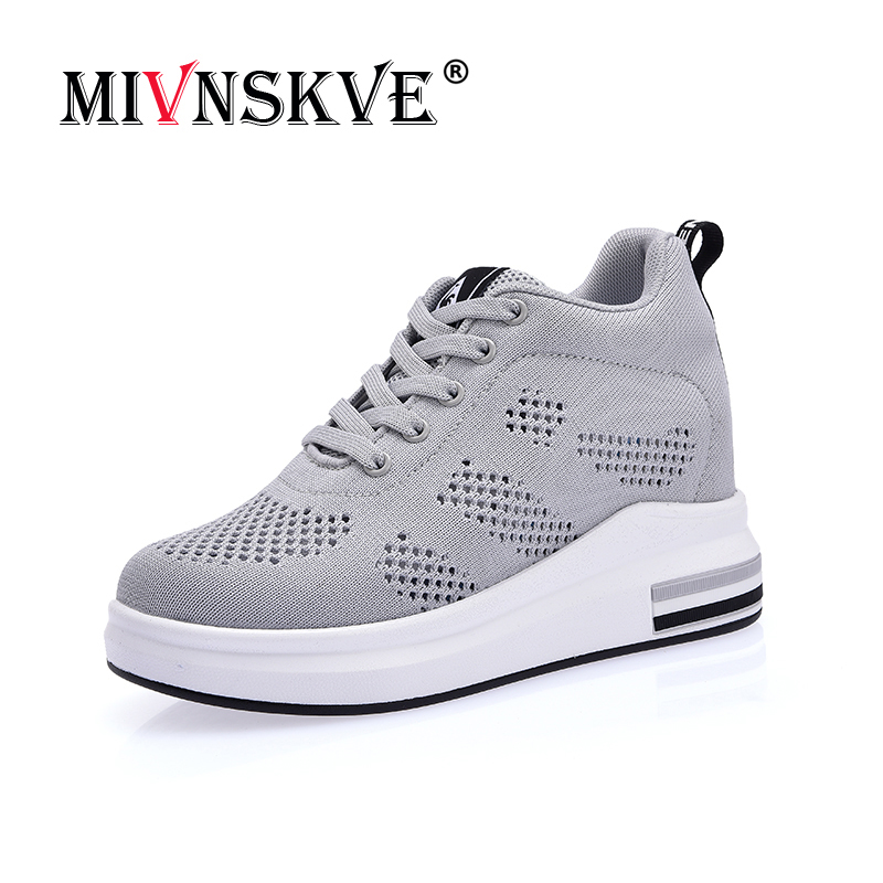 MIVNSKVE Summer women Fashion Casual Shoes platform shoes sneakers women thick sole shoes Air Mesh Breathable woman wedges shoes