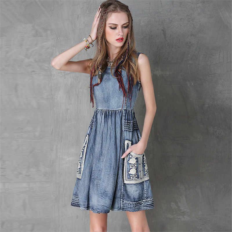 Винтажное летнее стильное хлопковое женское платье Ковбойское платье с вышивкой без рукавов джинсовое платье на бретелях с круглым вырезом с цветочным принтом Vestidos Femininos