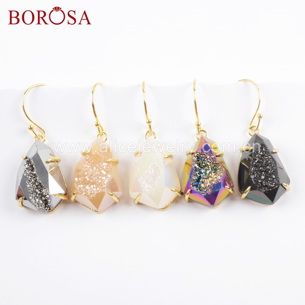 BOROSA 3Pairs Fashion Teardrop Gold Claw Eletroplated Titanium Rainbow Druzy Faceted Charm Drop Earrings Jewelry as Gift ZG0356