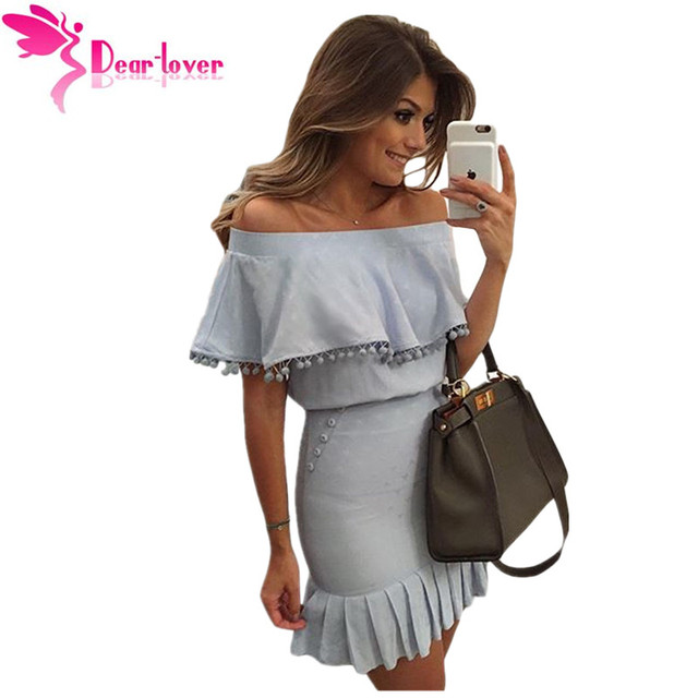 Dear Lover Ruffles slash cuello Oficina de Partido Atractivo Azul Pom Pom recortar Overlay Mini Vestido Del Hombro Vestidos de Tubo Nuevo 2016 LC22808
