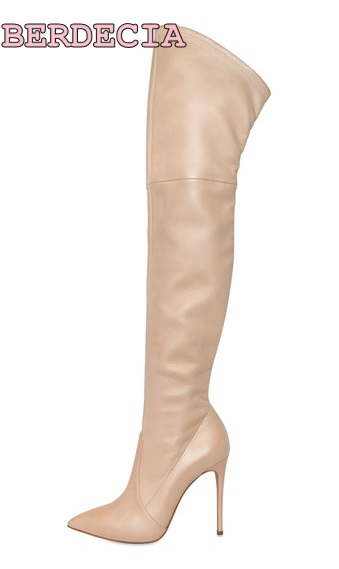 Hot selling black apricot leather pointed toe over-the-knee tall boots high quality stiletto heel thigh high shoes drop shipping
