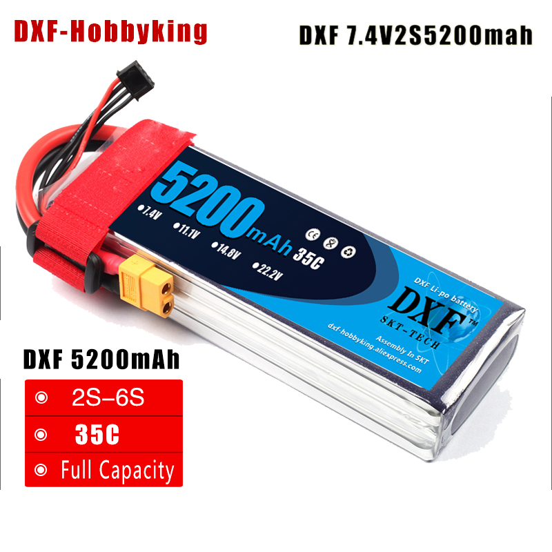 2017 DXF 6S Lipo Battery 6S 22.2V 5200MAH 35C MAX 60C T/XT60 LiPo RC Battery For Rc Helicopter Car Boat 6S Free shipping 1s 2s 3s 4s 5s 6s 7s 8s lipo battery balance connector for rc model battery esc