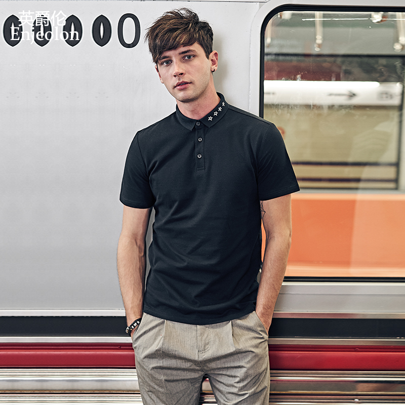 Enjeolon Shirt Men   Polos   Para Hombre Men Clothes 2019 Casual Short Sleeve Cotton Solid Male Shirts Plus Size T8981
