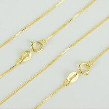 Италия из 925 пробы серебро и желтое золото Цвет тонкий цепи коробки Цепочки и ожерелья 40/45 см ожерелье-колье для Для женщин и девочек
