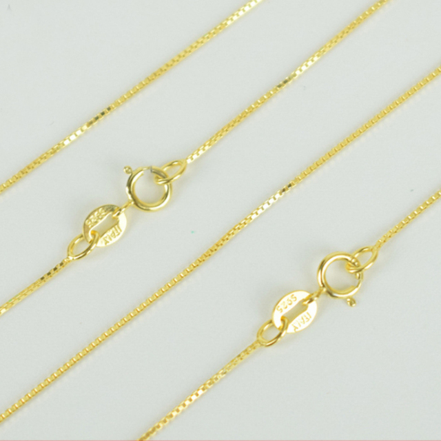 Italy Made 925 Sterling Silver & Yellow Gold Color Thin Slim Box Chain Necklace 40/45cm collares kolye Collier for Women Girls