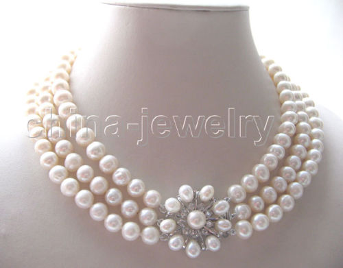 FREE SHIPPING>>>@@ > 3row1910mm natural white round freshwater pearl necklace-pearl clasp^^^@^Noble style Natural Fine jewe &FREE SHIPPING>>>@@ > 3row1910mm natural white round freshwater pearl necklace-pearl clasp^^^@^Noble style Natural Fine jewe &