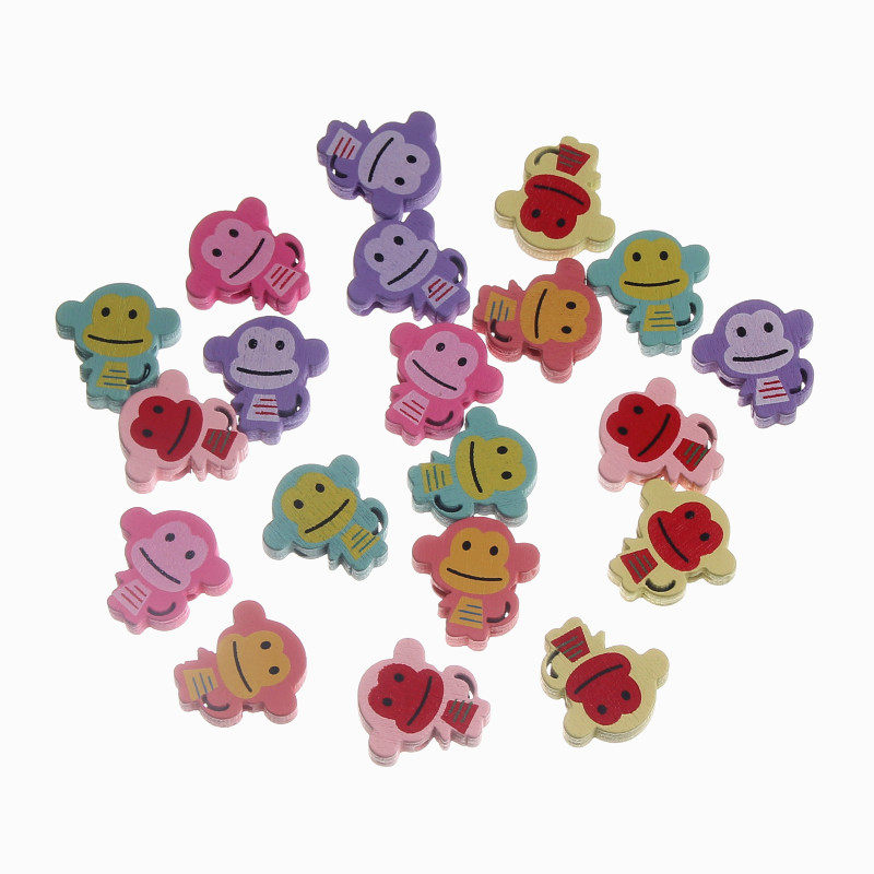 30pcs Cartoon Monkey 20x21mm Wood Beads Spacer Beading For Jewelry Making Diy Baby Bracelet Necklace Beads & Jewelry Making Jewelry & Accessories