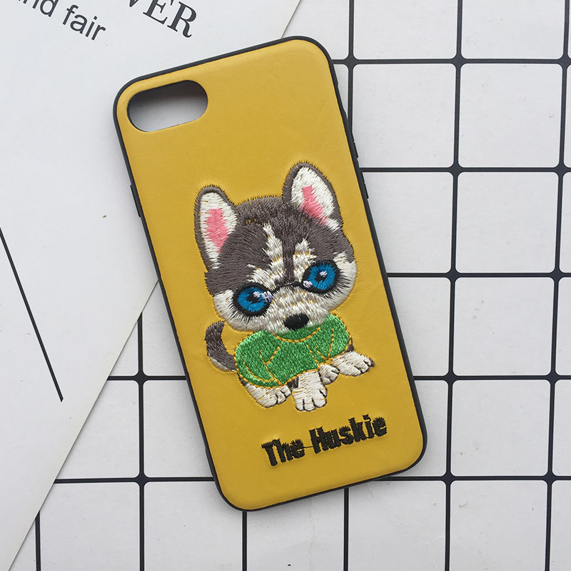 Tfshining Cute 3D Embroidery Cover Case For iPhone XS Max XR X 6 6s 7 8 Plus Soft Full Dog Teddy Pug Husky Dog Mobile Phone Case (4)
