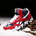 Invierno de Piel de Nieve Del Tobillo Botas de Los Hombres Calientes Zapatos Casuales De Peluche Hombres Superestrella Caliente antideslizante Pisos Zapatos Corredor Zapatillas de goma