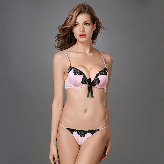 803815e528dc0 Underwear Women Push Up Silk Satin Smooth Contour Thick Small B Cup Tie Bow  Lace Contrast Bra Set French Sexy Lingerie Intimates