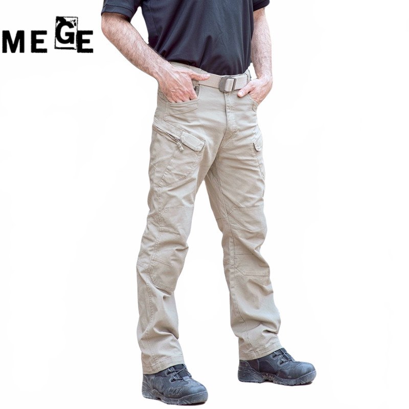 MEGE IX7 Hiking Hunting Cargo Pants, Tactical Multi Pocket SWAT Army Pants, Military Combat Trouser Pantalon Homme Pants For Men outdoor loose fit straight leg multi pocket solid color zipper fly cargo pants for men