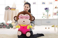 big creative lovely pink cloth monkey toy stuffed glasses girl monkey doll gift about 60cm