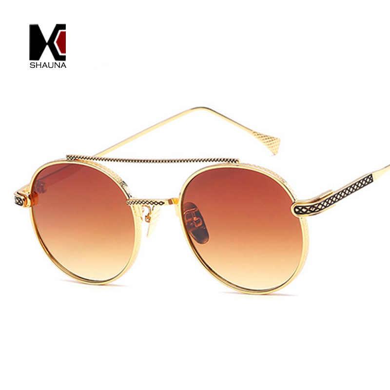 7aa481ed11c ... SHAUNA Retro Women Round Sunglasses Brand Designer Fashion Men Metal  Frame Double Bridges Glasses UV400 ...