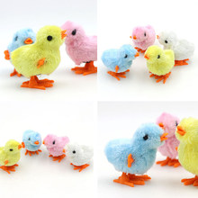 Kawaii Wind Up Chick Toy Colored Chain Will Run On Clockwork Chick Jumping Chicken Children's Educational Toys(China)