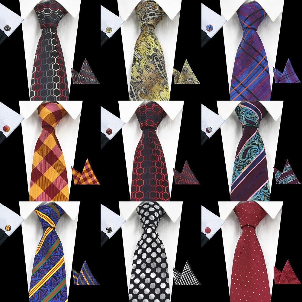 RBOCOTT New Men's 8cm Classic Ties Novelty Geometric Silk Tie Hanky Cufflinks Plaid Necktie Sets For Men Business Wedding Party