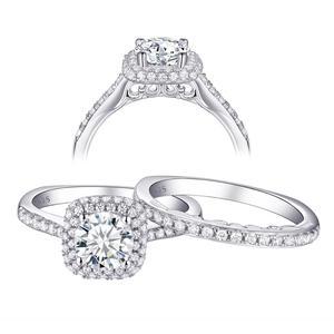 Image 4 - Newshe 2 個ハロー結婚指輪セットトレンディジュエリー 925 スターリングシルバー 1.6 ct ラウンド aaa cz の婚約指輪女性 1R0031