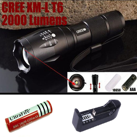 20pcs E17 Zoomable  XM-L T6 2000LM Flashlight Torch Zoom for 3AAA +4200mah 18650 battery +charger