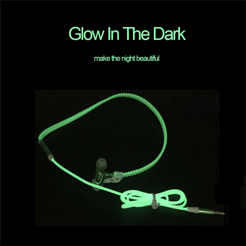 New Luminous Earphones Glow in the Dark Headset Light Metal Zipper Fashion Sports Earphone with Mic for Xiaomi Mobile Phone 6 7 гарнитура skullcandy ink d with mic dark red s2ikhy 481