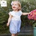 DB3424 dave bella verano bebé recién nacido algodón de la flor impresa ropa infantil del mameluco de la muchacha floral floral lindo del mameluco del bebé 1 pieza