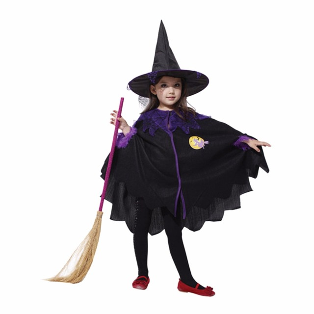 Fashion Children Cosplay Witch Autumn Cape Dress Purple Decals