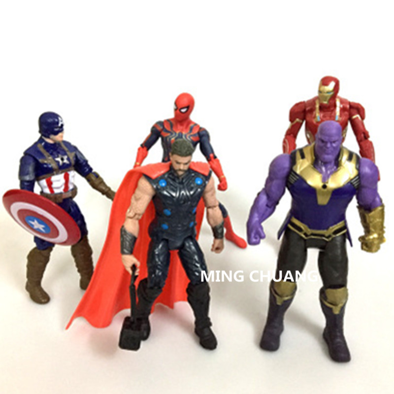 Avengers Infinity War Superhero Iron Man Spider-Man Thor Captain America Enemy Thanos Action Figure Collectible Model Toy D203