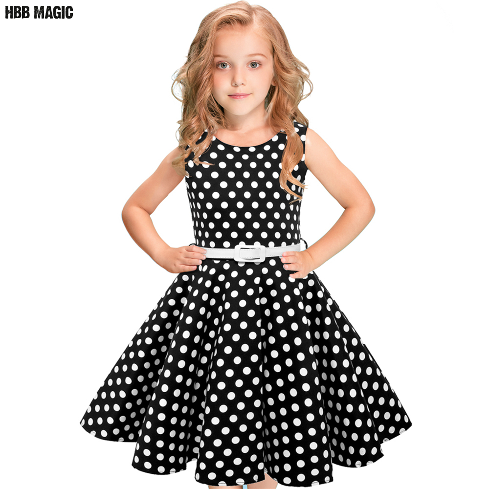 Summer Girls Dress Cotton 50s Vintage Swing Girls Party Dress Clothes Sleeveless Dot Kids Princess Dress Children Clothing 5-12Y black red summer girls dress sleeveless cotton princess dress kids clothes elegant girls wedding party dress children clothing