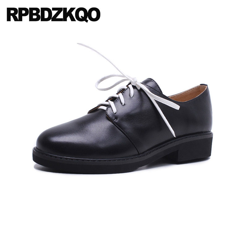 цена Japanese Low Heels Brown New Thick Black European Size 4 34 Vintage Ladies Genuine Leather 2018 Round Toe Shoes Lace Up Oxford