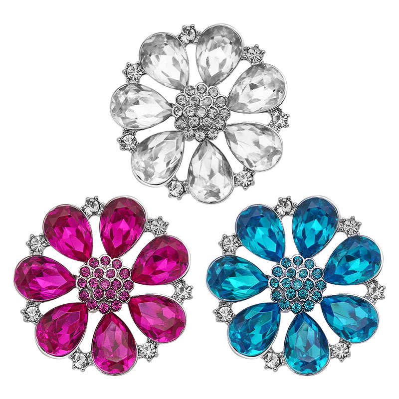 KZ3295 New Fashion Rhinestone 3colors Big Shinning Flowers Metal 28mm Snap Buttons Fit 18mm Snap Jewelry Wholesale