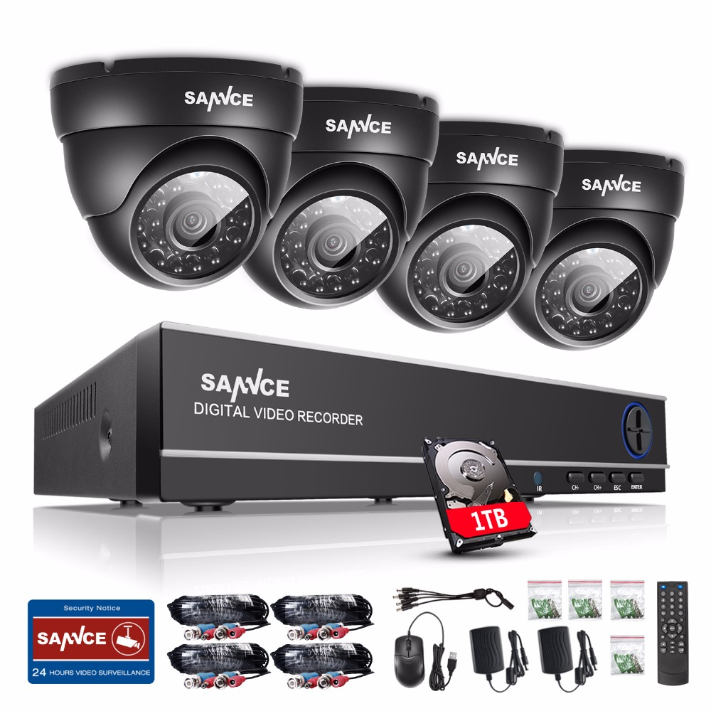 SANNCE 8CH CCTV System 720P HDMI TVI CCTV DVR 4PCS 1.0 MP IR Outdoor Security Camera 1200 TVL Camera Surveillance System 1T HDD sannce 8ch cctv camera system ahd cctv dvr 8pcs 1mp ir outdoor security camera 720p 1200 tvl camera bullet dome surveillance kit