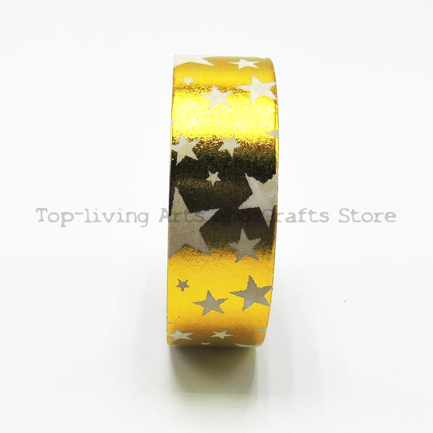 1Pc/Sell Golden Star Foil Washi Tape 10M Length Kawaii Scrapbooking Tools Japanese Stationery  Quality Scrapbook