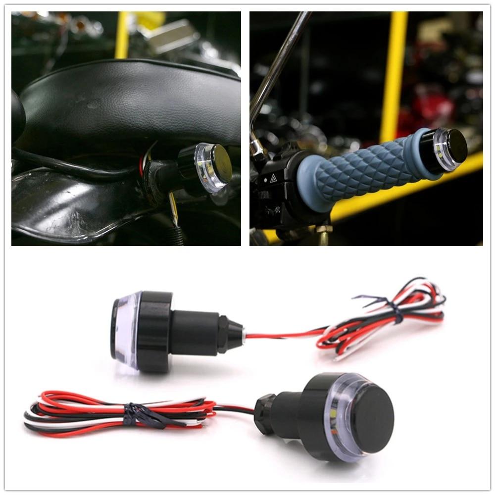 1 Pair LED Motorcycle Handle Bar End Indicator Grip Plug Turn Signal Light