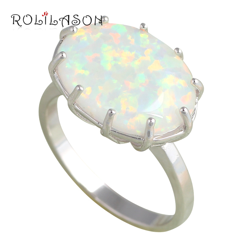 Huge Oval Rings Popular online White fire Opal Silver Stamped Ring Fashion Jewelry  Rings USA size #6 #7 #8 #9 OR613