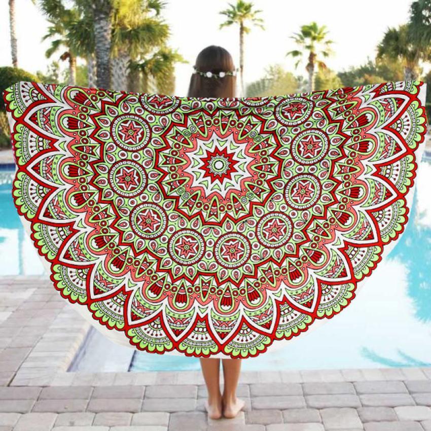 JA 30 Durable Beach MatHot Selling Fast Shipping Round Beach Pool Home Shower Towel Blanket Table Cloth Yoga Mat#1